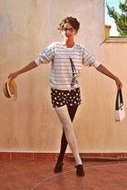 white striped Forever 21 sweater - black androgynous shoes - black tights
