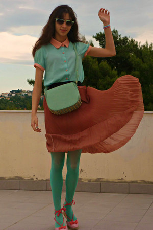 coral romwe skirt - aquamarine OASAP shirt - aquamarine tights
