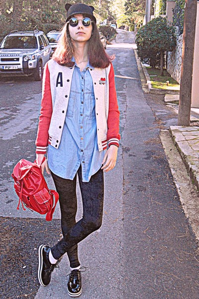 black ears romwe hat - black creepers OASAP shoes - red varsity Cozbest jacket