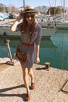 eggshell hat - navy striped dress - burnt orange bag - burnt orange belt