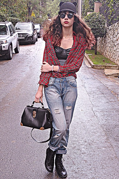 ruby red tartan Choies shirt - periwinkle boyfriend jeans - black ears hat
