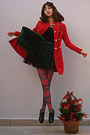 Green-velvet-chicwish-dress-black-creepers-oasap-shoes-red-coat
