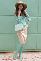 nude H&M hat - aquamarine tights - aquamarine bag - nude Steve Madden heels