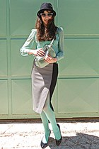 aquamarine polka dot romwe blouse - aquamarine tights - aquamarine bag