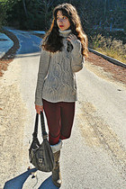 beige jumper - light brown faux fur boots - crimson Zara leggings