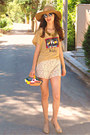 Romwe-sunglasses-camel-h-m-hat-yellow-submarine-diy-bag