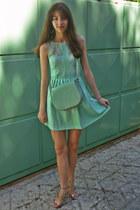 aquamarine lulus bag - aquamarine Zara dress - nude Zara heels