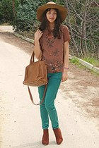 burnt orange bag - burnt orange H&M boots - camel H&M hat - teal Zara pants