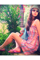 orange dress - aquamarine bag - light blue Accessorize sunglasses - salmon sanda