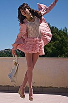 light pink romwe coat - ivory ted baker bag