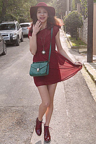 teal Accessorize bag - maroon boots - maroon studded Stradivarius dress