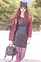 black ears romwe hat - dark gray leather dress - ruby red tartan Choies shirt