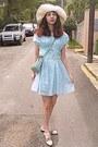 Aquamarine-ruched-oasap-dress-aquamarine-bag-cream-oxfords-chicwish-loafers
