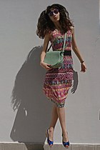 hot pink tribal romwe dress - aquamarine bag - amethyst giant vintage sunglasses