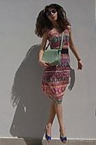 hot pink tribal romwe dress - aquamarine bag - amethyst giant vintage sunglasses