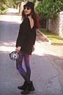 Light-purple-flower-koogul-earrings-black-boots