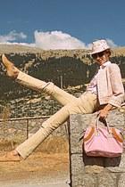 bubble gum Lancel bag - tan oxford Topshop shoes - cream floral Stradivarius hat