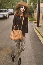 camel leopard romwe leggings - black studded H&M boots - camel H&M hat