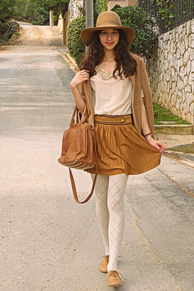 bronze skirt - camel oxford Topshop shoes - camel hat - bronze Mimi Boutique bag