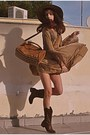 Camel-rare-london-dress-brown-cowboy-boots-camel-h-m-hat