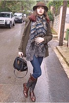 navy Chicwish scarf - brown Tommy Hilfiger boots - army green coat