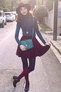 Black-studded-h-m-boots-maroon-h-m-hat-teal-bag
