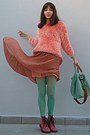Salmon-fluffy-romwe-sweater-pink-army-oasap-boots-aquamarine-tights