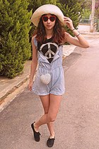 white heart studded romwe bag - periwinkle dungarees DIY shorts