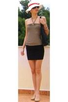 black Tommy Hilfiger bag - nude Steve Madden heels - nude striped H&M top - blac