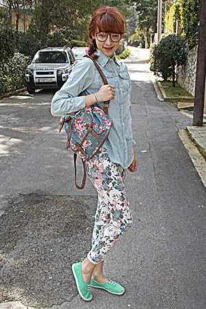 white floral romwe jeans - light blue denim romwe shirt