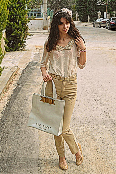 cream Chicwish blouse - cream ted baker bag - camel pants - camel heels