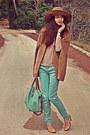 Nude-lace-zara-top-camel-h-m-hat-aquamarine-bag-camel-romwe-cape