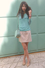 Aquamarine-polka-dot-romwe-blouse-aquamarine-bag-neutral-steve-madden-heels