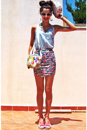 magenta floral pull&bear skirt - aquamarine worn as top lulus dress