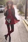 Watch-necklace-black-studded-h-m-boots-maroon-studded-dress-maroon-h-m-hat