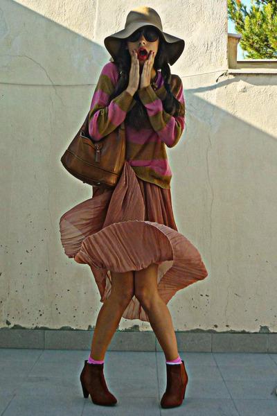 burnt orange H&M boots - camel H&M hat - bubble gum striped H&M sweater