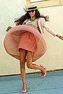 Light-pink-uterque-jacket-salmon-pleated-romwe-skirt-salmon-wedges