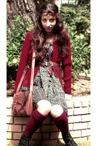 brick red Forever 21 socks - black boots - blue floral H&M dress