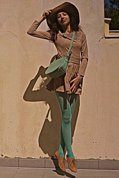 aquamarine lulus bag - camel oxford Topshop shoes