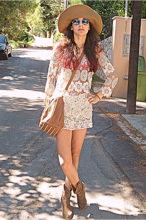 ivory crochet Chicwish top - camel cowboy boots - camel H&amp;M hat