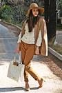Ivory-3d-floral-romwe-sweater-camel-h-m-hat-ivory-ted-baker-bag
