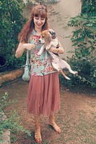 coral pleated romwe skirt - yellow floral chiffon romwe shirt - aquamarine bag