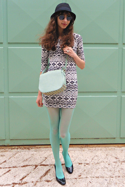white tribal print Pop Couture dress - aquamarine Calzedonia tights