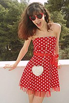 white heart studded romwe bag - red polka dot dress