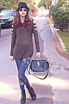 gray cutout Chicwish sweater - black boots - black hat