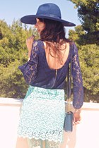 aquamarine crochet Zara skirt - navy lace Zara dress - navy Zara hat
