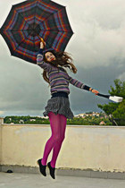 black polka dot Dorothy Perkins dress - magenta romwe sweater - magenta tights