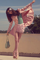 light pink romwe coat - aquamarine reward lulus bag - light pink OASAP shorts