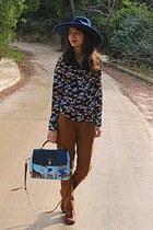 light blue horses Chicwish bag - navy Zara hat - navy horses romwe shirt