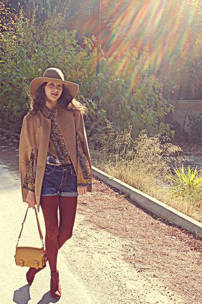 mustard vintage blouse - brick red H&M boots - camel H&M hat - mustard Lulus bag